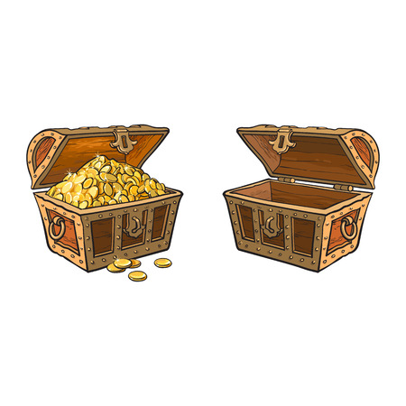 Illustration pour vector wooden treasure chest set. Isolated illustration on a white background. Opened, full of golden coins and opened empty box. Flat cartoon symbol of adventure, pirates, risk profit and wealth. - image libre de droit