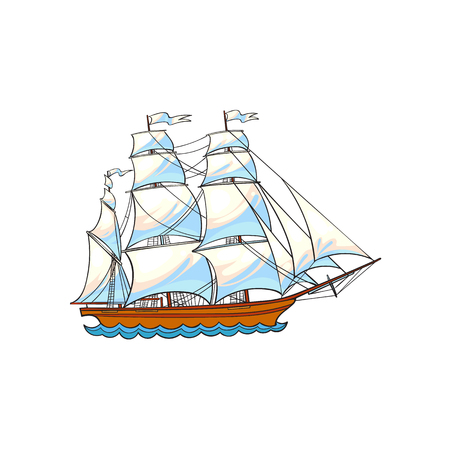 Ilustración de Beautiful sailing ship, sailboat, hand drawn, sketch style cartoon vector illustration isolated on white background. Hand drawn cartoon vector illustration of sailing ship, sailboat with white sails - Imagen libre de derechos