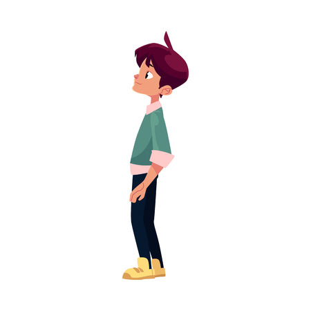 Illustration pour vector flat cartoon teenage boy, male character stands looking at something thoughtfully . Flat isolated illustration on a white background. Back to school concept - image libre de droit