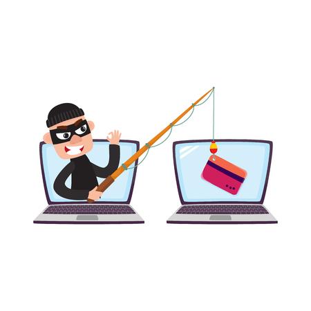 Ilustración de Hacker in black mask stealing credit card details with fishing rod, phishing attack concept, cartoon vector illustration isolated on white background. Cartoon computer hacker, phishing attack - Imagen libre de derechos