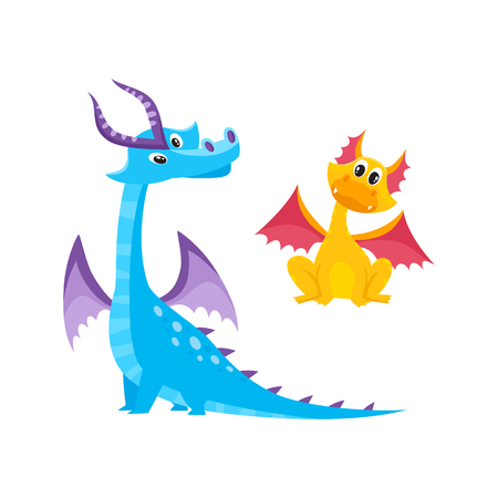 Illustration for vector flat cartoon funny blue, marine adult, mature with horns and wings and yellow kid dragons set. Isolated illustration on a white background. Fairy cute creature character for your design - Royalty Free Image