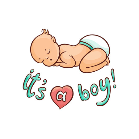 Illustration pour vector flat cartoon style newborn cute infant baby boy toddler in diaper or nappy sleeping lying on his back, its a boy inscription. Isolated illustration on a white background. - image libre de droit