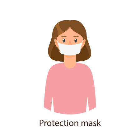 Ilustración de Vector cartoon young girl in pink pullover wearing protection mask. Flat isolated illustration on a white background. Illness and disease symptoms concept - Imagen libre de derechos