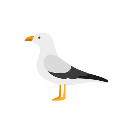 Ilustración de Side view portrait of seagull, albatross, flat style cartoon vector illustration isolated on white background. Simple flat style cartoon vector illustration of standing seagull - Imagen libre de derechos