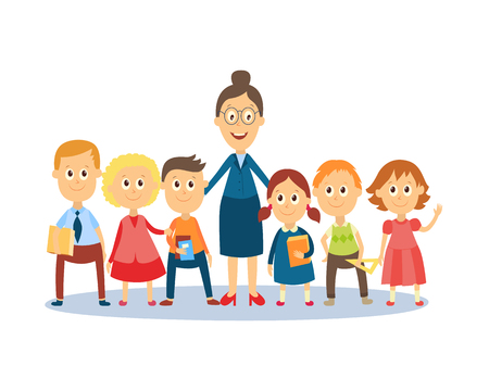 Illustration pour Full length portrait of female teacher standing with students, pupils, flat cartoon, comic style vector illustration isolated on white background. Funny teacher and students standing together - image libre de droit