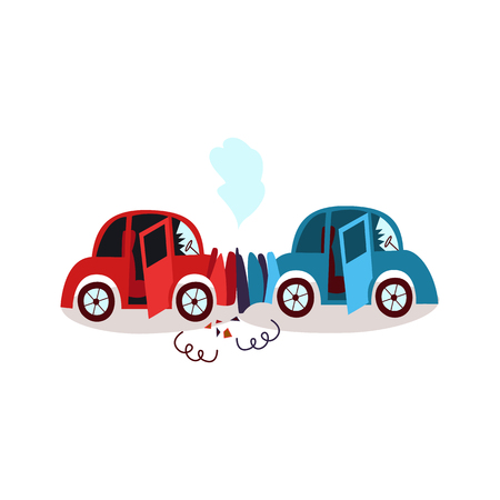 Illustration pour vector flat cartoon car crash in head-on collision, accident. Both have dents, broken glasses, scratches and smoke from hood. Isolated illustration on a white background - image libre de droit