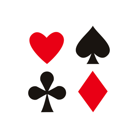 Ilustración de vector flat cartoon four card suit set. Shade, diamond club and heart. Isolated illustration on a white background. Symbol of gambling, casino and poker games. - Imagen libre de derechos