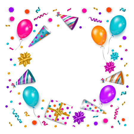 Ilustración de Square banner, poster, greeting card frame - birthday party object with empty round space for text, vector illustration isolated on white background. Birthday greeting card, banner with space for text - Imagen libre de derechos
