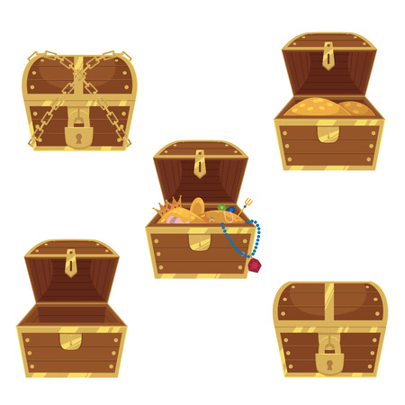 Illustration pour Open and closed pirate treasure chests, locked, empty, full of gold and jewelry, flat style cartoon vector illustration isolated on white background. Set of flat style treasure chests, full and empty - image libre de droit