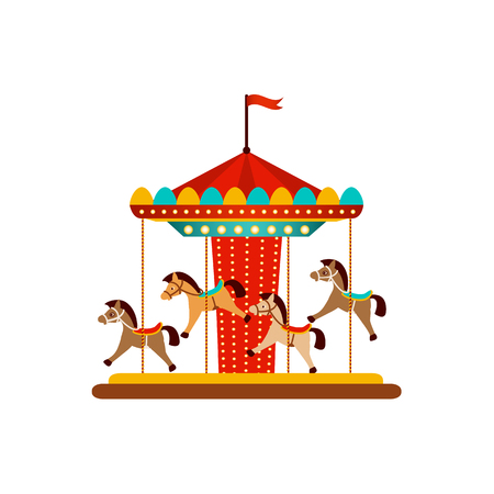 Illustration for vector flat amusement park concept. Merry go round, Funfair carnival vintage flying horse carousel colored icon. Isolated illustration on a white background. - Royalty Free Image