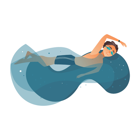 Illustration pour vector cartoon young teen boy swimming in stylized water pool in goggles, watches. Male man athlete in sport clothing training. Isolated illustration on a white background. - image libre de droit
