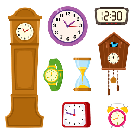 Illustration pour Set of clocks and watches - alarm, tower, cuckoo, wristwatch, hourglass, cartoon vector illustration isolated on white background. Set of alarm and cuckoo clock, hourglass, tower and wristwatch icons. - image libre de droit
