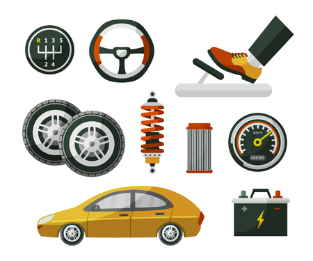 Ilustración de Car, auto, automobile and set of parts wheel, tires, pedal, speedometer, battery, air filter and shock absorber, flat cartoon vector illustration isolated on white background. Set of auto parts - Imagen libre de derechos