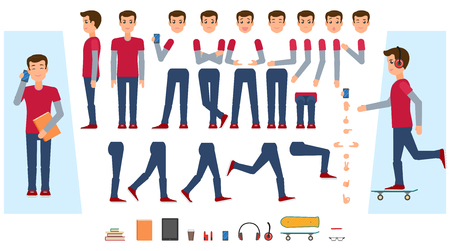 Illustration pour Vector animated young man character. Male teenager creation set front, side view, various items phone, skateboard, workbooks, vape, tablet. Different poses, emotions, gestures Isolated illustration. - image libre de droit