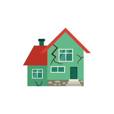 Illustration pour Vector flat house insurance concept. House being damaged by earthquake. Natural disaster insurance scene. Isolated illustration on a white background - image libre de droit