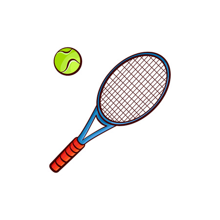 Illustration pour Flat vector sketch tennis ball, racket sport equipment object for your graphic design or web design element isolated illustration on a white background. - image libre de droit