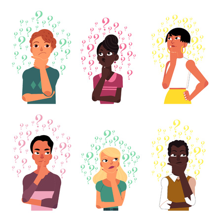 Ilustración de Set of people, men and women, black and Caucasian thinking surrounded by many question marks, cartoon vector illustration isolated on white background. Portraits of thinking people with question marks - Imagen libre de derechos