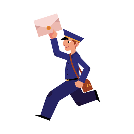 Illustration pour Cartoon postman cheerful character running holding letter or mail and shouder bag. Man in professional blue uniform peaked cap. Delivery service worker, mailman. Vector illustration - image libre de droit