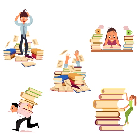 Illustration pour Vector flat people hard learning concept set. Exhausted tired girl student or worker sitting table coffee cup, overwork studying exams man holding hair, girl climbing stack, man running with books. - image libre de droit