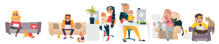 Set of people working at home, self-employed, freelancers, home office concept, flat cartoon vector illustration isolated on white background. Set of freelance, self-employed people working at home