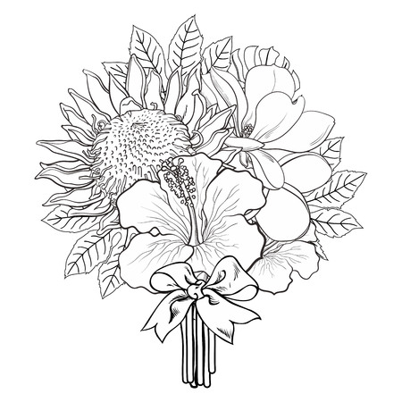 Tropical flowers and palm leaves in bouquet with bow in sketch style isolated on white background. Hand drawn line exotic blooms of hibiscus, protea, magnolia and plumeria. Vector illustration.