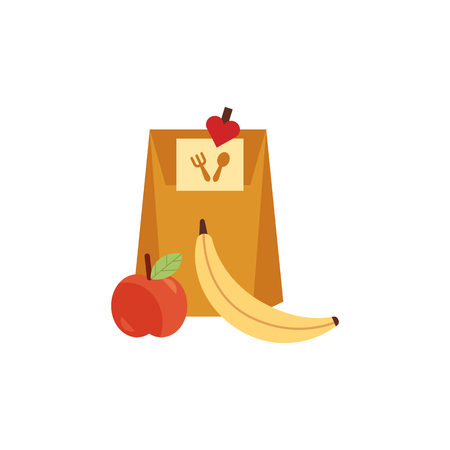 Vektor für Paper bag lunchbox with food, apple and banana fruit for school or work day. Dinner lunch container with snacks, meals homemade food. Vector isolated illustration - Lizenzfreies Bild