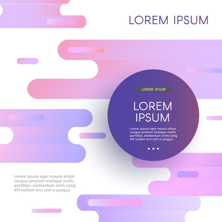 Ilustración de Trendy background template with circle frame with text on vibrant glitched gradient purple blue violet colors and abstract shapes flow. Modern vector poster, presentation layout. - Imagen libre de derechos