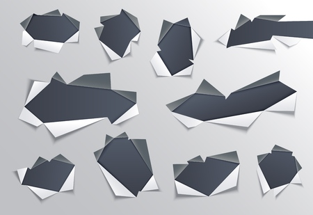 Torn hole with gray edges in middle of paper set with dark background underneath - isolated vector illustration of ragged sheet effect. Ripped page for advertising design.