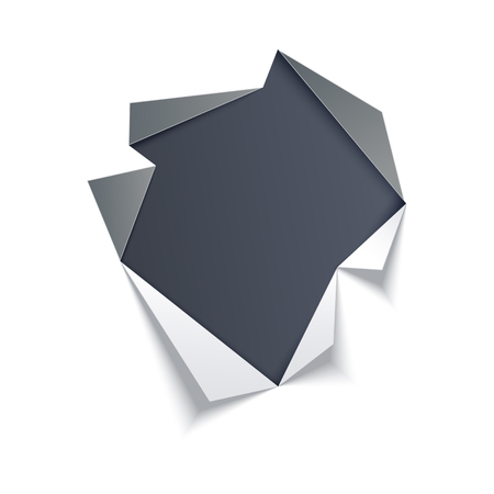 Hole in middle of white sheet with torn gray edges with dark background underneath. Isolated vector illustration of ripped paper effect. Ragged page with copy space.
