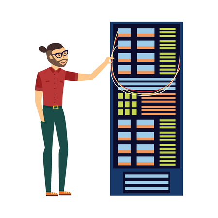 Illustration pour Modern it specialist man in glasses in computer server rack at data center, database icon. Hardware information storage, internet cloud computing symbol. Vector flat isolated illustration. - image libre de droit