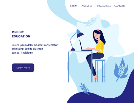 Illustration pour Online distant education concept poster with young girl student sitting at desk typing on laptop smiling on blue background with abstract shapes, leaves, space for text. Vector cartoon illustration - image libre de droit