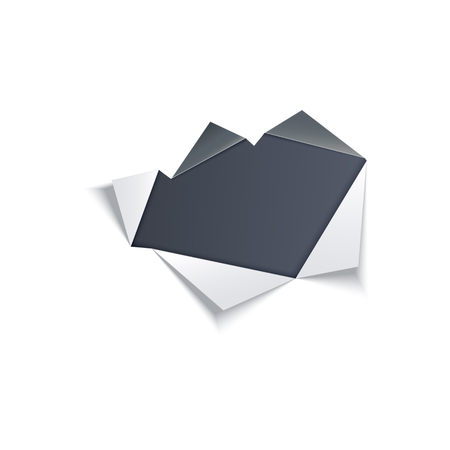 Hole in middle of white paper with torn gray edges with dark background underneath. Isolated vector illustration of ragged sheet effect. Ripped page with copy space area.
