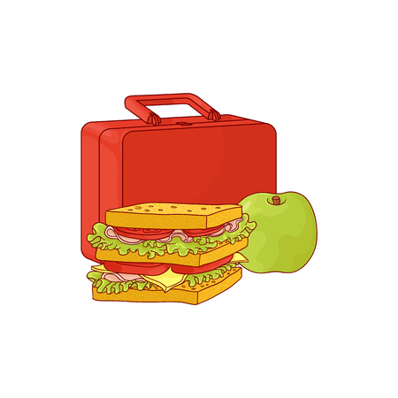 Vektor für Plastic lunchbox with sandwich and apple for school or work break isolated on white background. Hand drawn vector illustration of lunch time food and package. - Lizenzfreies Bild