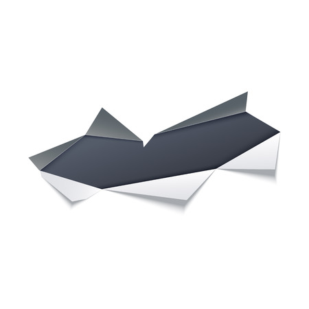Torn hole with gray edges in middle of white paper with dark background underneath. Isolated vector illustration of ragged sheet effect - ripped page with copy space area.