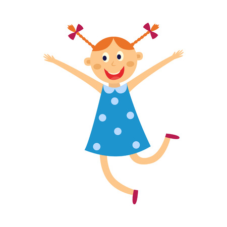 Illustration pour Kid girl dances and jumps with happy expression isolated on white background. Flat cartoon vector illustration of cute cheerful female child dancer in blue dress smiling and having fun. - image libre de droit