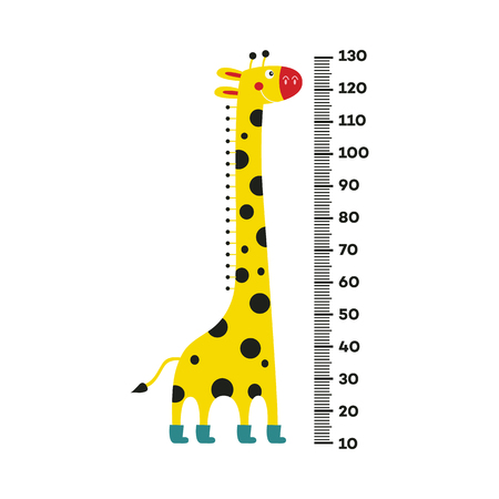 Giraffe cartoon character with long neck in boots standing next to scale from 10 to 130 centimeter isolated on white background. Wall height meter with cute smiling african animal. Vector illustration