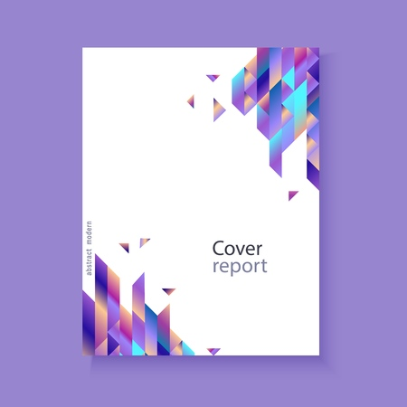 Illustration pour Modern report cover, trendy background template with vibrant blue purple gradient bold color, abstract geometric triangle polygonal shapes flow. Vector , poster, ppt presentation layout - image libre de droit