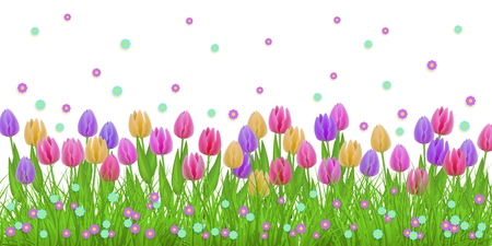 Illustration pour Spring floral border with colorful tulips and little blooms on green grass isolated on white background - decorative frame with fresh seasonal flowers on lawn in vector illustration. - image libre de droit