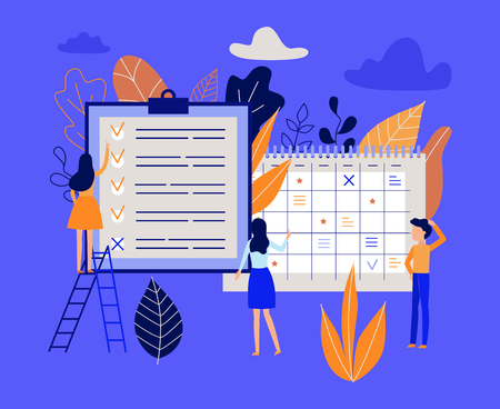 Illustration pour Planning and time management concept with people organizing working process and noting completed tasks in list - lat characters near big calendar and planner in isolated vector illustration. - image libre de droit