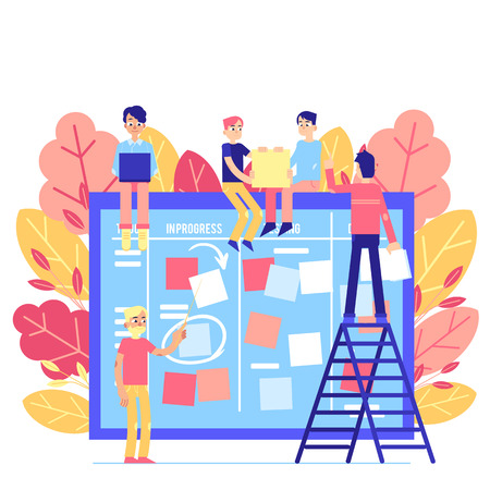 Illustration pour Scrum task board - big agile organizer with people sticking papers on it isolated on white background. Team work on project with daily planning process in flat vector illustration. - image libre de droit