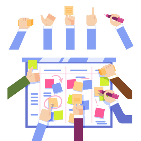Illustration pour Scrum task board concept with human hands sticking colorful papers and writing on board isolated on white background - managing business project in flat vector illustration. - image libre de droit