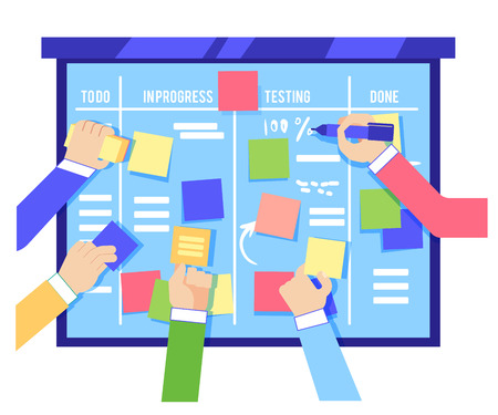 Illustration pour Scrum board concept with human hands sticking colorful papers and writing tasks on blue board isolated on white background - agile methodology to manage business project in flat vector illustration. - image libre de droit