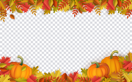 Illustration for Autumn leaves and pumpkins border frame with space text on transparent background. Seasonal floral maple oak tree orange leaves with gourds for thanksgiving holiday, harvest decoration vector design. - Royalty Free Image