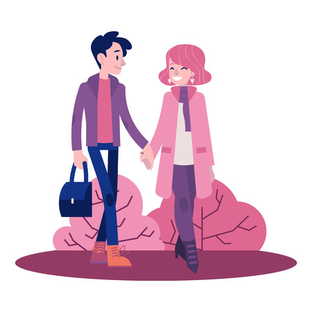 Ilustración de Vector couple walking holding hands at autumn in warm outdoor clothing - coats and scarf. Young man and woman dating outdoors together. Illustration with male and female characters at romantic walk - Imagen libre de derechos