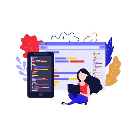Vector mobile application development concept with young girl, woman sitting with legs crossed behind laptop device taping, making app design on smartphone, tablet devices windows background.
