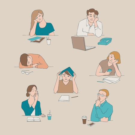 Illustration pour Vector sketch young bored, tired students set sitting with cups of tea or coffee with boring, tired facial expressions. Young men, women sitting behind laptop, books yawning illustration - image libre de droit