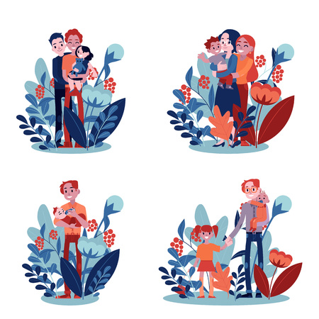 Illustration for Vector lesbian, gay family and single father hugging set. Adult homosexual couple mother and father women hug small son kid holding in hands. Happy characters smiling together on floral background - Royalty Free Image
