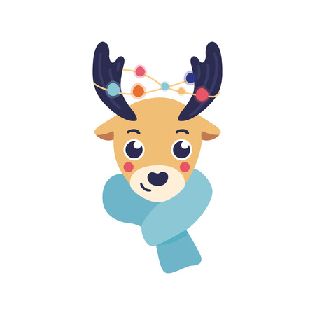 Vector Illustration Of Reindeer Head With Warm Knitted Scarf