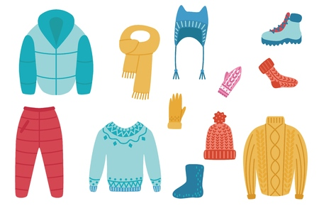 Ilustración de Vector flat cold weather - winter or autumn warm clothing set. Male, female active leisure, outdoor sport activity apparel. Hat, jacket trousers boots, socks sweater or pullover and mittens - Imagen libre de derechos