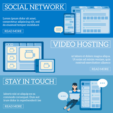 Vectr social communication technologies and video hosting concept poster set with young girl, woman sitting with laptop at knees behind device taping, digital devices screens with media icons.